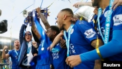 Leicester City célèbre son sacre, à Barclays Premier League, stade King Power, 5 juillet 2016