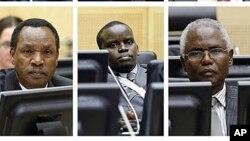 (De g. à dr.) Kosgey,Sang, Mathaura, en 2011, à la CPI