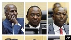 De g. à dr. et de haut en bas:Hussein,Kenyatta,Ruto,Kosgey,Sang, Mathaura. Hussein et Kosgey ne seront pas jugés par la Cpi