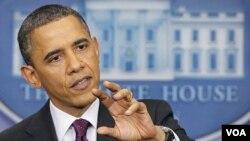 Presiden Barack Obama saat memberikan keterangan pers di Gedung Putih, Selasa (6/3).
