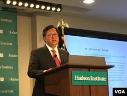 台灣桃園市長鄭文燦2019年3月4日在華盛頓哈德遜研究所演講(美國之音鐘辰芳拍攝)