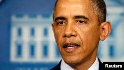 Shugaba Obama kennan da yake magana da manema labarai dangane da harin birnin Boston.