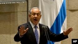 以色列总理内塔尼亚胡在进行讲话