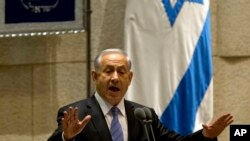 Perdana Menteri Israel Benjamin Netanyahu berbicara di Knesset, parlemen Israel, di Yerusalem, 27 Oktober 2014.