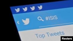 Hashtag 'Nhà nước Hồi giáo' (#ISIS) được nhìn thấy trên ứng dụng Twitter trên điện thoại.