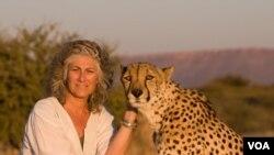Laurie Marker, pendiri dan pimpinan eksekutif Dana Pelestarian Macan Tutul, berpose dengan Chewbaaka, macan tutul yang dipeliharanya sejak 16 tahun lalu.