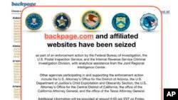 Cet avis du FBI a été publié le 6 avril 2018 sur le site Web Backpage.com. La police fédérale américaine a saisi le site dans le cadre d'une action coercitive menée par le FBI et d'autres agences.