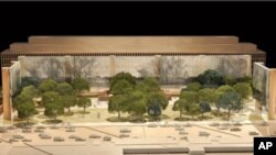 The proposed Eisenhower Memorial emphasizes President Eisenhower's pastoral youth in rural Kansas, while scenes from the war and Ike's presidency appear on a series of tapestries in the background.