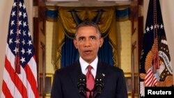 Prezida wa Amerika Barack Obama ariko ashikiriza ijambo, abanyamerika kuri televiziyo ku migambi yiwe y'ukurwanya umurwi Islamic State