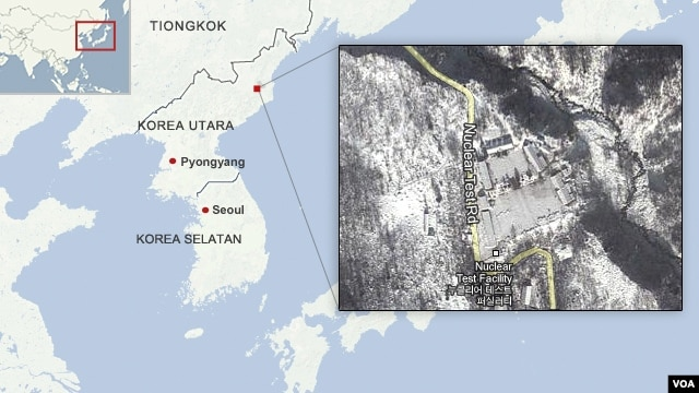 Peta Tes Nuklir Korea Utara (foto: VOA).