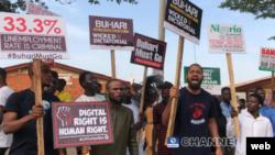 Masu zanga-zanga a Abuja (Channels TV website)