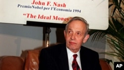 FILE - In this Oct. 28, 1997 file photo, John Forbes Nash, 1994 Economics Nobel Prize winner, takes a break during the European School of Economics conference in Rome.