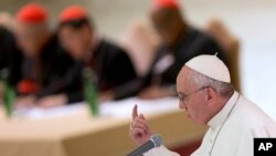 Pope Francis delivers his speech during a meeting marking the 50th anniversary of the creation of the Synod of Bishops, in the Paul VI hall at the Vatican, Saturday, Oct. 17, 2015.