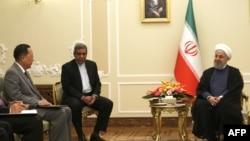 Tổng thống Iran Hassan Rouhani tiếp ngoại trưởng Triều Tiên Ri Yong Ho tại Tehran ngày 8/8/2018.