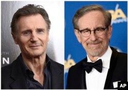 """Liam Neeson, izq., en una presentación de """"Concussion"""", Nueva York, diciembre 16, 2015, y Steven Spielberg, director de """"The Post"""" en la entrega 68 del Sindicato de Directores de EE.UU, Los Angeles, febrero 6, 2016."""