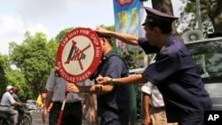 越南警方告示不要在中國大使館門前附近拍攝