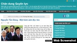 "The website ""Portrait of Power"" or Chan Dung Quyen Luc in Vietnamese."