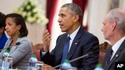 Президент США Барак Обама (в центре).Найроби. Кения. 25 июля 2015 г.