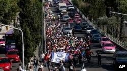 Un groupe de migrants centraméricains à Mexico, Mexique, le 8 novembre 2018.
