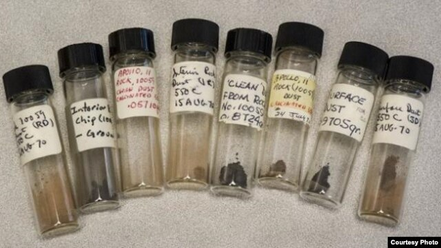 Vials of the long lost lunar samples. (Vial of the long lost lunar samples. (Credit: Lawrence Berkeley National Laboratory/Roy Kaltschmidt)