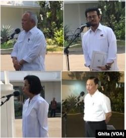 Para Calon Menteri Kabinet Jokowi II, usai bertemu Presiden Jokowi di Istana Kepresidenan Jakarta, 22 Oktober 2019. Dari kiri atas, searah jarum jam: Basuki Hadimulyono,Syahrul Yasin Limpo, Luhut Binsar Panjaitan dan Sri Mulyani.