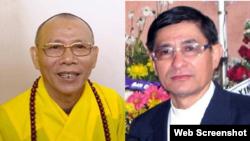 Hòa thượng Thích Không Tánh và Mục sư Nguyễn Hồng Quang.