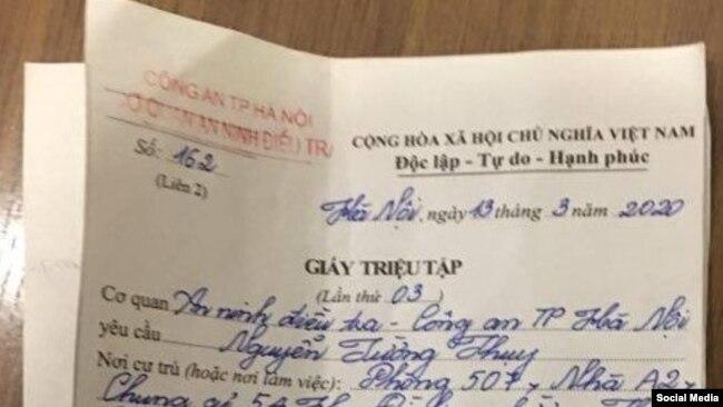 Gịấy triệu tập của công an gửi đến ông Nguyễn Tường Thụy. Facebook Nguyễn Tường Thụy.