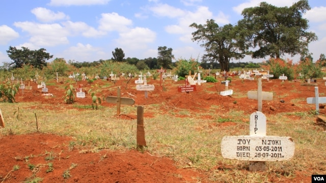 View of the temporary section of Nairobi's Langata Cemetery, October 4, 2012. (Jill Craig / VOA)