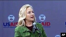 15일 미국 국제개발처에서 연설한 힐러리 클린턴 미 국무장관