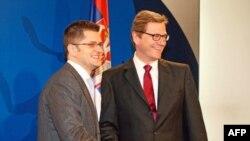Šefovi srpske i nemačke diplomatije, Vuk Jeremić i Gvido Vestervele u Beogradu, 23. februar 2012.