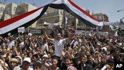 ການໂຮມຊຸມນຸມປະທ້ວງ ທີ່ຮຽກຮ້ອງໃຫ້ປະທານາທິບໍດີ Ali Abdullah Saleh ລາອອກ ທີ່ນະຄອນຫຼວງ Sana'a (24 ກຸມພາ 2011)
