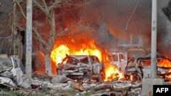 1일 소말리아 이슬람 반군단체 알샤바브가 모가디슈의 한 호텔에 차량 폭탄 테러를 감행했다.