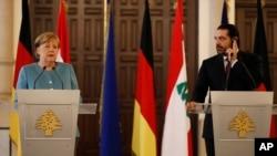 La canciller alemana se reunió con el primer ministro del Líbano, Saad Hariri.