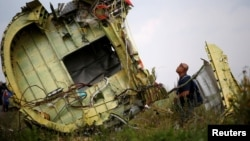 FILE - A Malaysian air crash investigator inspects the crash site of Malaysia Airlines Flight MH17, near the village of Hrabove (Grabovo) in Donetsk region, Ukraine, July 22, 2014. (REUTERS/Maxim Zmeyev/File Photo)