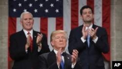 """Le Président Donald Trump lors de son premier discours sur """"l'état de l'Union"""" au cours d'une session conjointe du Congrès, Washington, le 30 janvier 2018."""