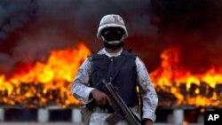 墨西哥政府正銷毀毒品。