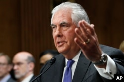 FILE - Secretary of State Rex Tillerson testifies on Capitol Hill in Washington, June 13, 2017.