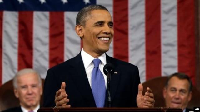 President Barack Obama, flanked by Vice President Joe Biden and House Speaker John Boehner delivers his State of the Union speech, Feb. 12, 2013