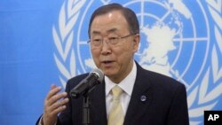 FILE - United Nations Secretary-General Ban Ki-moon speaks to the media.