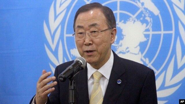 FILE - United Nations Secretary-General Ban Ki-moon speaks to the media.