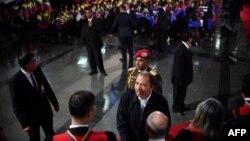 El presidente de Nicaragua, Daniel Ortega, en la ceremonia de inauguración de segundo mandato del presidente de Venezuela, Nicolás Maduro.