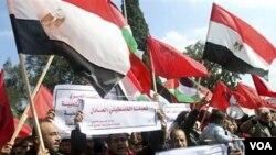 Los acontecimientos en Egipto dieron lugar a esta manifestación en Gaza que además abogó por la unidad de los palestinos.