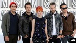Paramore, from left: Zac Farro, Josh Farro, Hayley Williams, Jeremy Davis and Taylor.