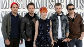Paramore, from left: Zac Farro, Josh Farro, Hayley Williams, Jeremy Davis and Taylor.