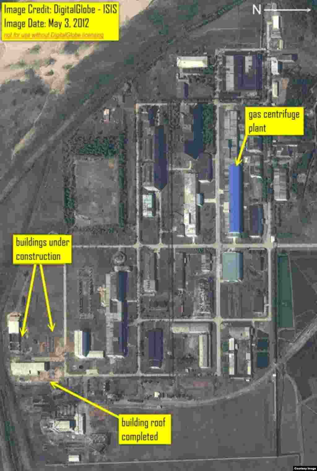Digital Globe imagery from May 3, 2012 showing building construction in what is the south eastern corner of the fuel fabrication facility.