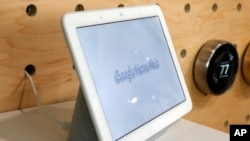 In this Oct. 9, 2018, file photo a Google Home Hub is displayed in New York. Google Assistant has made for a name for itself in a voice technology market once dominated by Amazon and Apple. (AP Photo/Richard Drew, File)