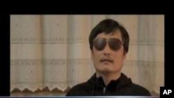 陈光诚出逃后向温家宝总理提出三点要求的一段视频的截图
