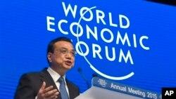 中國總理李克強星期三在瑞士達沃斯講話