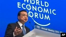 中國總理李克強2015年1月21日在瑞士達沃斯論壇上講話。