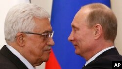 Abbas et Poutine le 14 mars 2013. (AP Photo/Grigory Dukor, Pool)